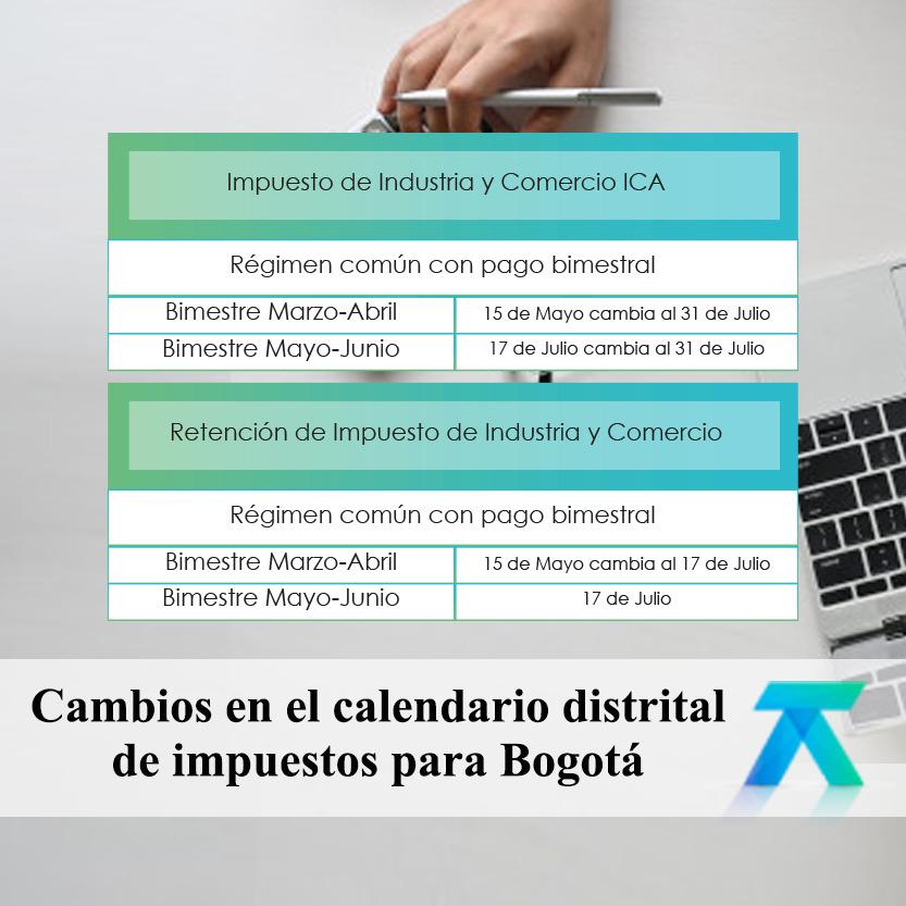 Calendario distrital de impuestos para Bogotá