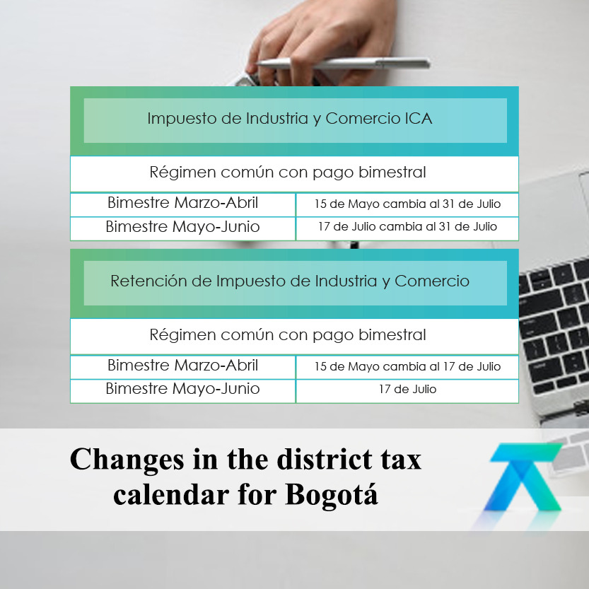 District tax calendar for Bogotá